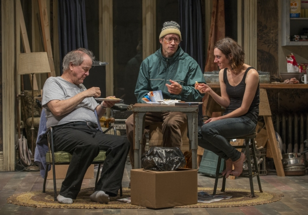 Tommy (ensemble member Francis Guinan), Doc (ensemble member Tim Hopper) and Aimee (Helen Sadler) sit down for late-night chips