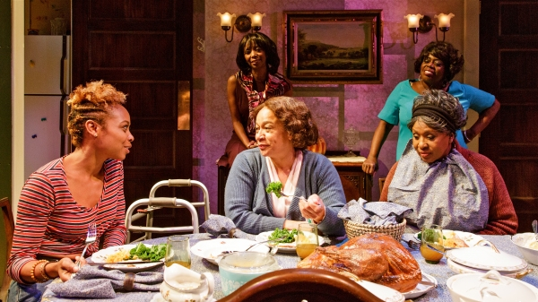 Front row: SHERIA IRVING, S. EPATHA MERKERSON, and ELAIN GRAHAM; Back row: SHARON WASHINGTON and LILLIAS WHITE