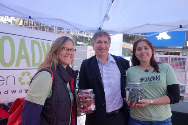 Charles Duell, Co-chair of the Broadway Green Alliance with Rebekah Sale, Coordinator of the BGA and Kathy Mavrikakis, Green Captain at THE LATE SHOW WITH DAVID LETTERMAN.