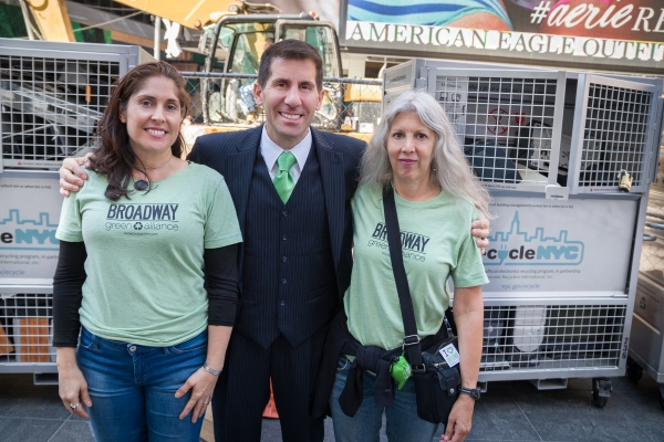 Electronic Recyclers International CEO John Shegarian with Broadway Green Alliance's Rebekah Sale and Susan Lupow.