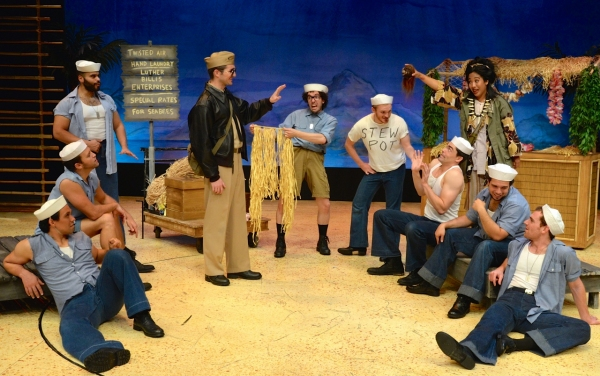 Zach Trimmer (center) as Lt. Joseph Cable with Ensemble and Bloody Mary (Joanne Javien)