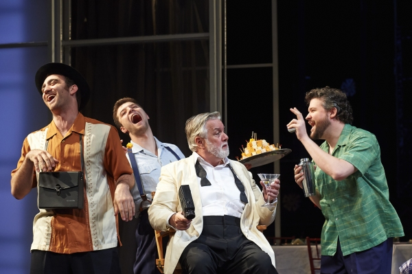 "Actor Aled Davies (center, as Falstaff) takes center stage as his motley '�""entourage,' comprised of Alex Syiek (left, as Pistol), Brandyn Day (behind, as Nym) and Stephen Mitchell Brown (right, as Bardolph), shares a laugh"