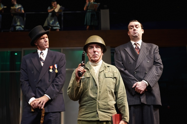 Actors Brian Sutherland (left, as Mr. Robert Shallow), M.A Taylor (center, as Mr. Hugh Evans) and Ian Gould (right, as Mr. George Page)