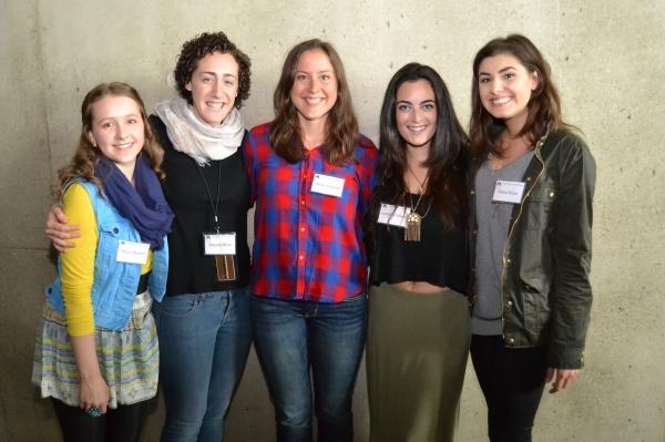 Maya Brettell (Bielke), Shayna Blass (Shprintze), Dorea Schmidt (Tzeitel), Hannah Corneau (Hodel) and Maria Rizzo (Chava)