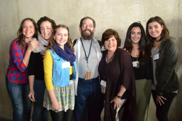 The family, played by Dorea Schmidt (Tzeitel), Shayna Blass (Shprintze), Maya Brettell (Bielke), Jonathan Hadary (Tevye), Ann Arvia (Golde), Hannah Corneau (Hodel) and Maria Rizzo (Chava)
