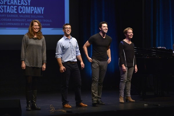 Amy Barker, Jordan Ahnquist, Jared Troilo, and Valerie Sullivan perform from SpeakEasy Stage Company''s [title of show]