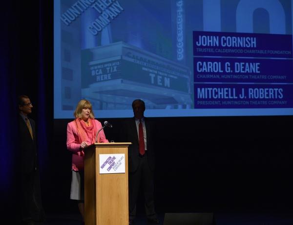 Huntington President Mitchell J. Roberts, Huntington Chairman Carol G. Deane, and Calderwood Charitable Foundation Trustee John Cornish