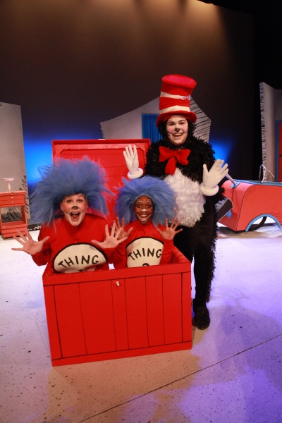 Sue Gillespie Booton as Thing 1, Aaron Ellis as Thing 2 and Noah Diaz as The Cat in the Hat