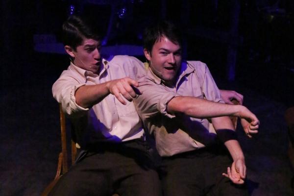 Matt Pentecost and Brendan Ochs as Clyde and Buck Barrow, singing ''When I Drive'' Photo