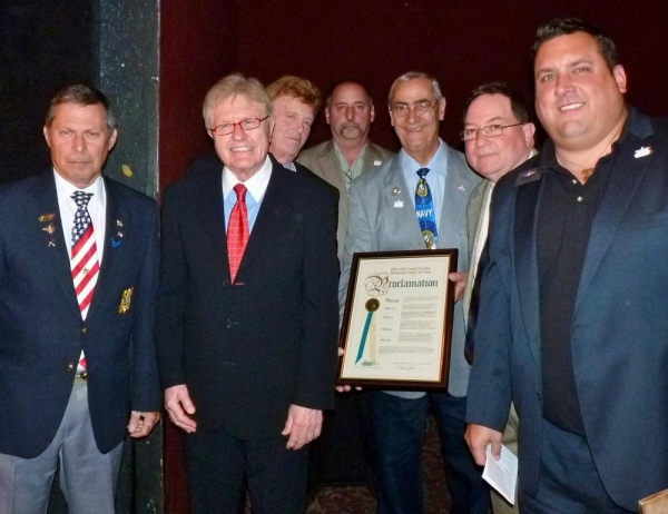 Bob Foster, VFW Post 2285; Bob Funking, owner; Bill Stutler owner; Fred Abatangelo, HVHF; Vito Pinto; Bill Skennion, HVHF; Frank Kimler, HVHF Executive Board.