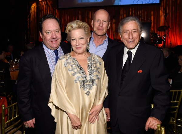 James L. Nederlander, Bette Midler, Bruce Willis and Tony Bennett