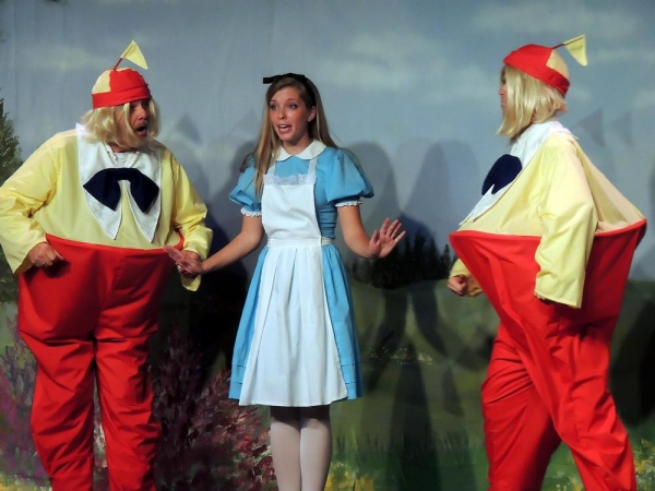 Bill Kiska as Tweedle Dum, Mary Ellen Cameron as Alice, and Matt Rothenberg as Tweedl Photo