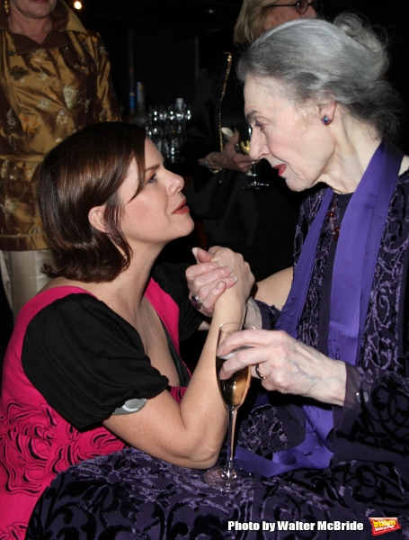 Marcia Gay Harden and  Marian Seldes  attending the Vineyard Theatre Gala Honoring Actress Marian Seldes at the Rainbow Room in New York City. February 9, 2009