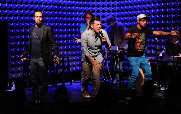 Lin-Manuel Miranda, left, Chris Sullivan, Anthony Veneziale and Utkarsh Ambudkar perform at Pivot''s Freestyle Love Supreme premiere event at Joe''s Pub, on Monday, Oct. 13, 2014 in New York. (Photo by Evan Agostini/Invision for Pivot/AP Images)
