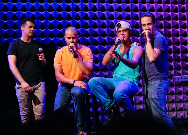 Anthony Veneziale, left, Christopher Jackson, Utkarsh Ambudkar and Lin-Manuel Miranda perform at Pivot''s Freestyle Love Supreme premiere event at Joe''s Pub, on Monday, Oct. 13, 2014 in New York. (Photo by Evan Agostini/Invision for Pivot/AP Images)