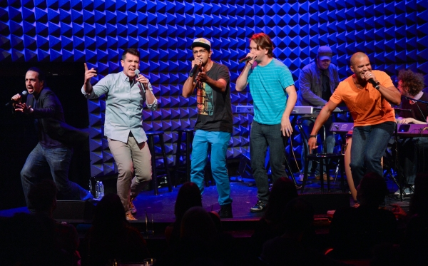 Lin-Manuel Miranda, left, Anthony Veneziale, Utkarsh Ambudkar, Chris Sullivan and Christopher Jackson perform at Pivot''s Freestyle Love Supreme premiere event at Joe''s Pub, on Monday, Oct. 13, 2014 in New York. (Photo by Evan Agostini/Invision for Pivot