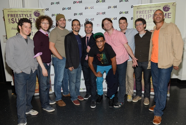 Co-creator Thomas Kail, Arthur Lewis, Bill Sherman, Lin-Manuel Miranda, Pivot president Evan Shapiro, Utkarsh Ambudkar, Chris Sullivan, co-creator Anthony Veneziale, executive producer Ryan McFaul and Christopher Jackson attend Pivot''s Freestyle Love Sup