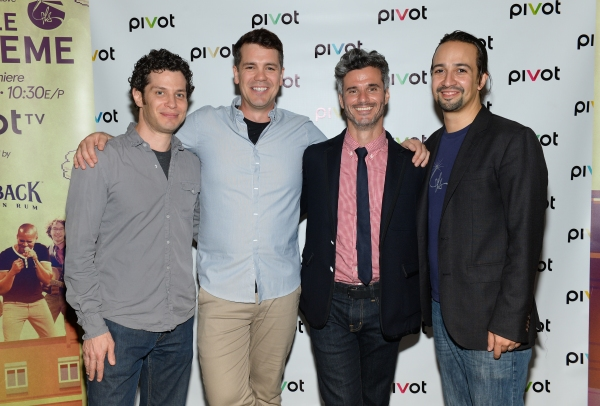 Co-creator Thomas Kail, left, co-creator and performer Anthony Veneziale, Pivot president Evan Shapiro and performer Lin-Manuel Miranda attend Pivot''s Freestyle Love Supreme premiere event at Joe''s Pub, on Monday, Oct. 13, 2014 in New York. (Photo by Ev