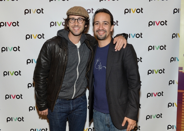 Singer Josh Groban, left, and performer Lin-Manuel Miranda attend Pivot''s Freestyle Love Supreme premiere event at Joe''s Pub, on Monday, Oct. 13, 2014 in New York. (Photo by Evan Agostini/Invision for Pivot/AP Images)
