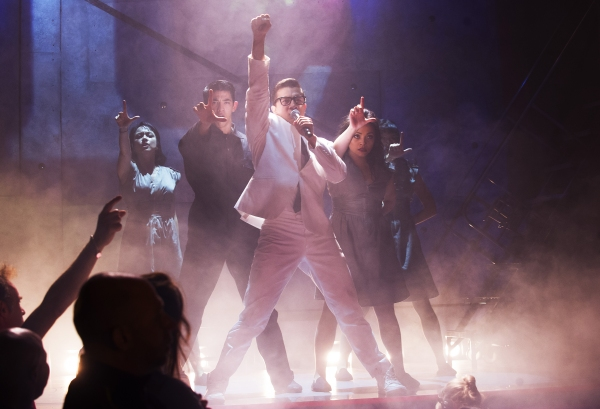 A scene from Here Lies Love by David Byrne and Fatboy Slim @ Dorfman Theatre. Directed by Alex Timbers.(Opening 13-10-14)©Tristram Kenton 09/14(3 Raveley Street, LONDON NW5 2HX TEL 0207 267 5550  Mob 07973 617 355)email: tristram@tristramkenton.com