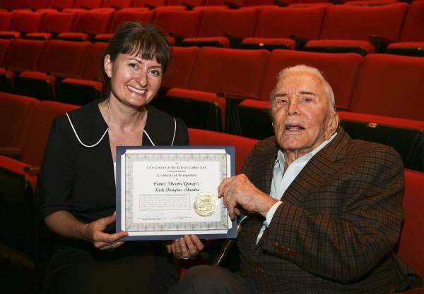 Culver City Mayor Meghan Sahli-Wells presents a proclamation to Kirk Douglas
