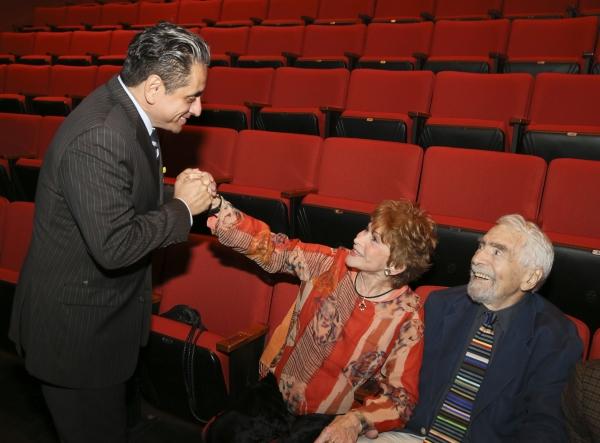 Actor Richard Montoya greets Judi Davidson and  CTG Founding Artistic Director Gordon Davidson
