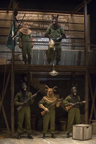 Squealer (Amelia Hefferon), Napoleon (Blake Montgomery), Dog (Sean Parris), Muriel (Mildred Marie Langford) and Dog (Dana Murphy) enforce a new order