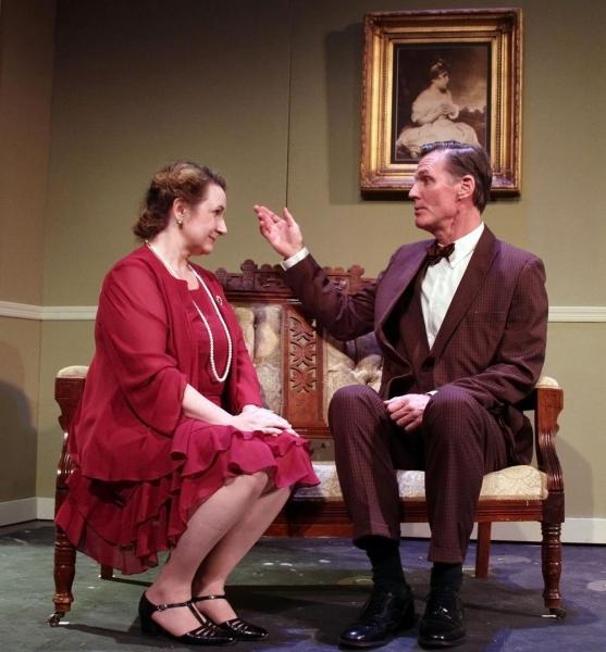 Pamela Kern as Veta Louise Simmons and Matthew Conlon as Elwood P. Dowd