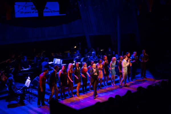 James Gardiner, Nick Blaemire, and students from Signature's Overtures program sing My Next Story from Glory Days