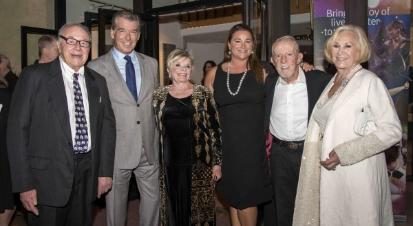Retired Hollywood producer Stan Kallis, Lucetta Kallis, actor Pierce Brosnan, Keely Brosnan, Playhouse Trustee Jim Mellor, Suzanne Mellor