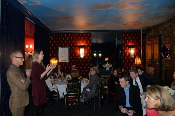 Christopher Hibma, Heidi Schreck speak to the guests