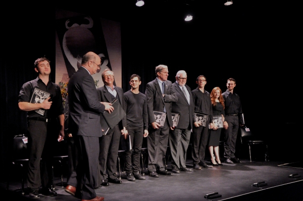 The cast-Jeff Ronan, Chris Richards, Nick Wyman, Max Gordon Moore, Edward Hibbert,  Charles Morey, Jim Brochu, George S. Irving, Andrea Lynn Green, Cynthia Darlow and Wesley Taylor