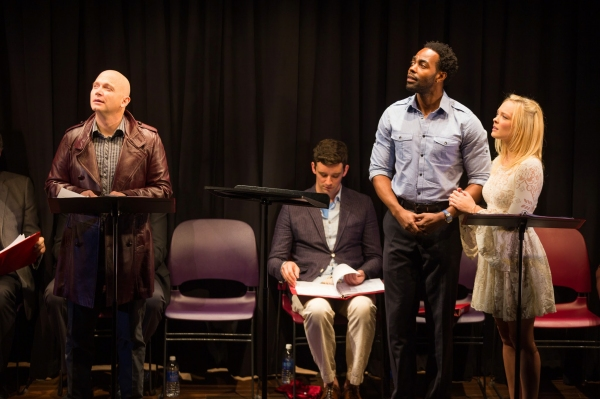 Michael Cerveris, Clifton Duncan as Ferdinand, and Auden Thornton as Miranda