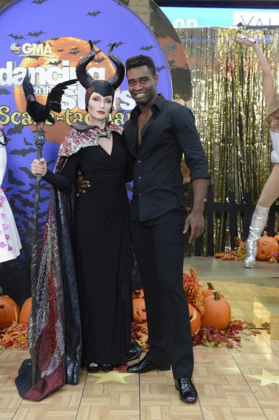 GOOD MORNING AMERICA - It is Halloween morning in Times Square and anything can happen -  on GOOD MORNING AMERICA, 10/31/14, airing on the ABC Television Network.   (ABC/Ida Mae Astute)  AMY ROBACH (AS ANGELINA JOLIE), KEO MOTSEPE