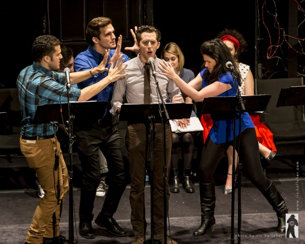 Josh Grisetti (center) with Joel Perez, Sergi Robles and Natalie Charle Ellis in THE NOTEWORTHY LIFE OF HOWARD BARNES