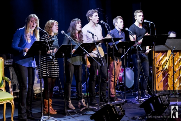 Abbie Mueller, Emily Walton, Shannon O'Bolye, Derek Klena, Jeremy Morse and Corey Mach sing from OCTOBER SKY by Michael Mahler and Aaron Thielen in the SONGWRITERS SHOWCASE