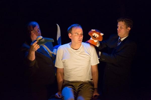 Tyler Bunch (Booby puppeteer), Erik Lochtefeld (Raymond Scott), and Eric Wright (Otter puppeteer)