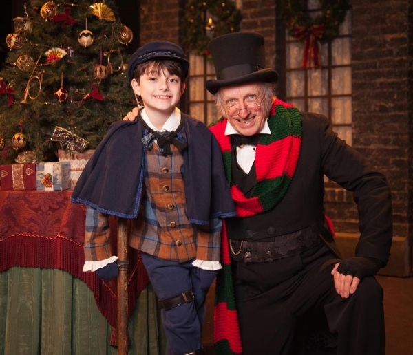 Thomas D. Mahard (Ebeneezer Scrooge) with Mason Podhorsky (one of our two Tiny Tim Cr Photo