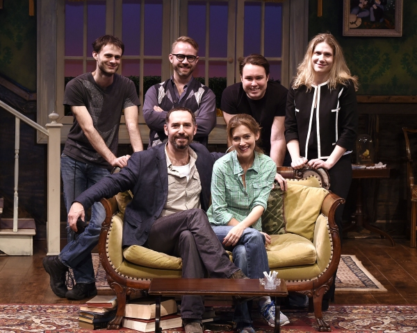 back row: Evan Roby (Lighting), Ryan J. Moller (Costume), Stephen K. Dobay (Scenic), Taryn Sacarmon (Managing Director QT) front row: Adam Dannheisser (Director) and Sandy Rustin (playwright)