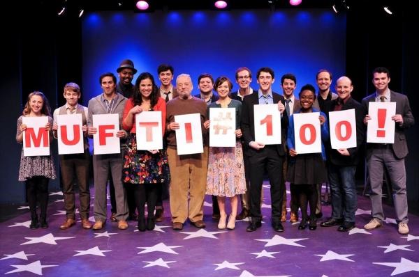 Stephen Sondheim (center) celebrates with the cast
