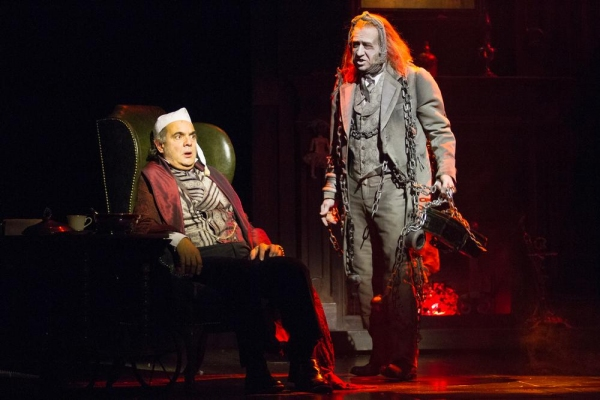 Edward Gero as Ebenezer Scrooge and James Konicek as the Ghost of Jacob Marley