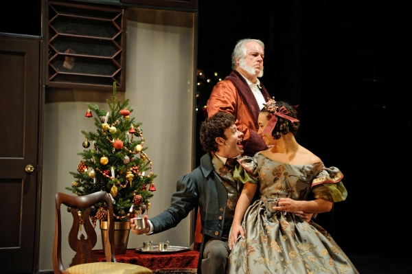 Fred Sullivan, Jr. as Ebenezer Scrooge, Michael Jennings Mahoney as Fred and Shelley  Photo