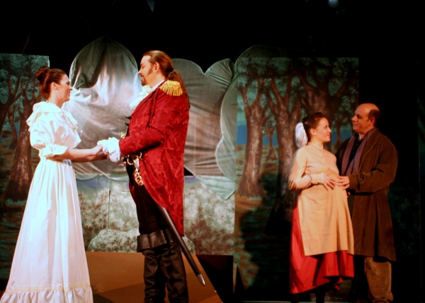 Cinderella, her Prince, the Baker and his Wife find out what it means to get your wish. (from left: Heather Barnett, Jon Sparks, Amy Coles, Terry Delegeane)