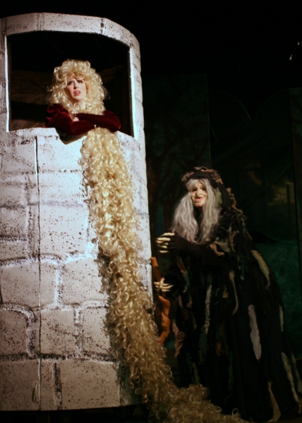 The Witch casts a spell on Rapunzel. (from left: Alicia Reynolds, Elizabeth Bouton)