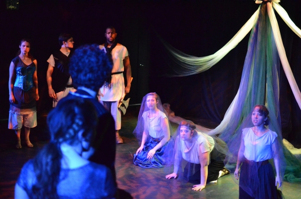 Amber G. Gibson, Kelly Elliott, and Renana Fox as the Three Queens, with Carolyn Kashner, Zach Roberts, Anderson Wells, Ian Blackwell Rogers and Jacqueline Chenault