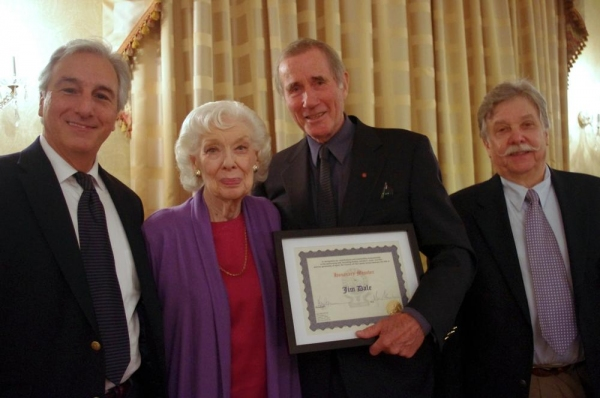 Marc Baron (Shepherd of The Lambs), Joyce Randolph (The Honeymooners), Jim Dale, and Jim''s friend and Lamb, Larry Marx