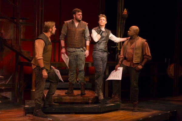 Hunter Ryan Herdlicka (Mordred), second from right, surrounded by Perry Sook (Sir Lionel), Ryan G. Dunkin (Sir Sagramore), and Kent Overshown (Sir Dinadan)