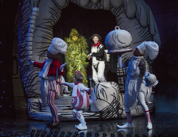 Burke Moses as The Grinch and Jeffrey Schecter as Young Max (center) with David Kirk Grant, Noah Baird, and Nathan Andrew Riley