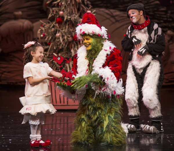 Gabriella Dimmick as Cindy-Lou Who, Burke Moses as The Grinch, and Jeffrey Schecter as Young Max