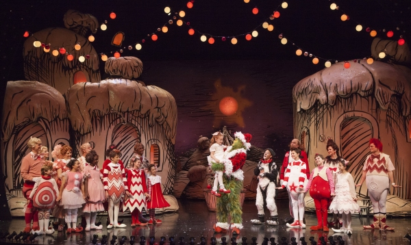 Taylor Coleman as Cindy-Lou Who and Burke Moses as The Grinch (center) with the cast of the 17th annual production of Dr. Seuss'' HOW THE GRINCH STOLE CHRISTMAS!
